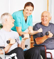 Elderly men excercising
